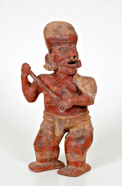 Messico occidentale, Nayarit meridionale, figura di guerriero con bastone (III secolo a.C.-IV secolo d.C.)
