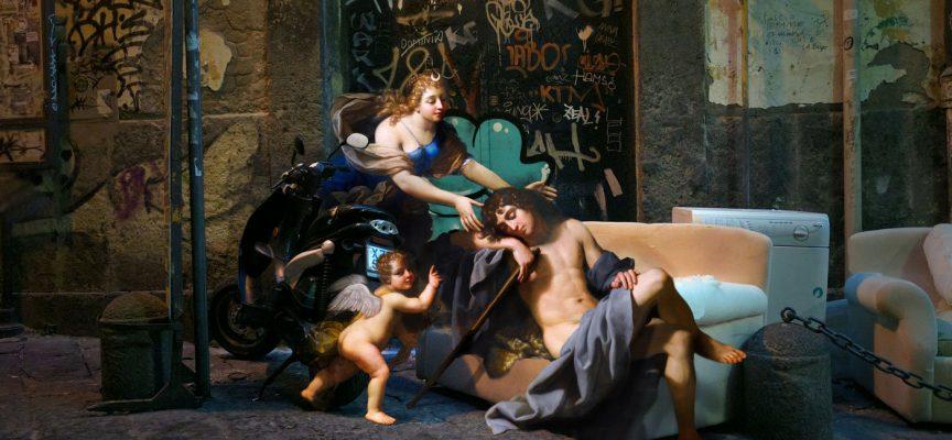 Arte del collage: personaggi rinascimentali nel cuore di Napoli