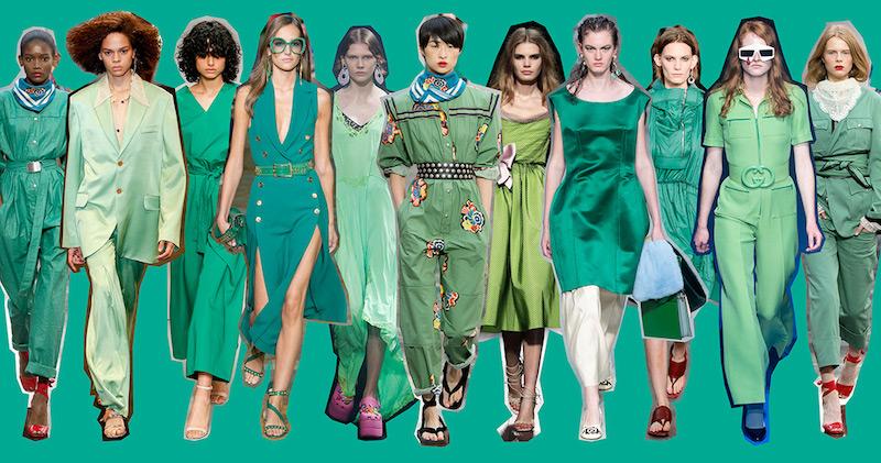 Risultato immagini per il colore  verde sulle passerelle della moda